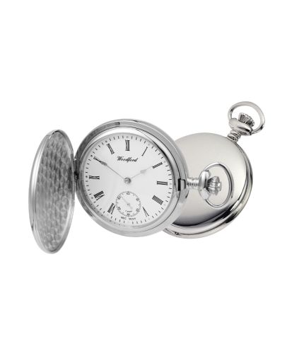 Mechanical Chrome Plated Full Hunter Polished Pocket Watch With Chain
